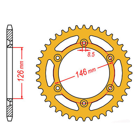SPROCKET REAR MTX ZERO Aluminium 808 51T #520 GLD