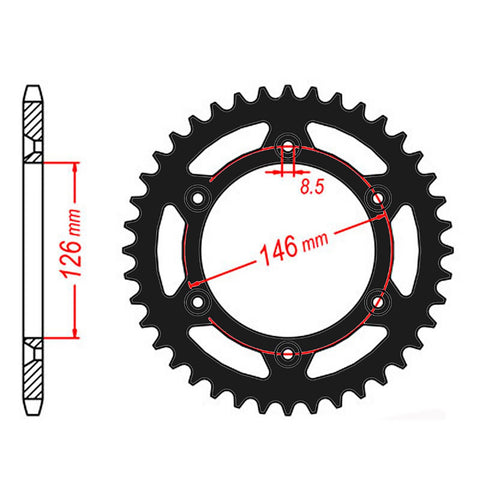 SPROCKET REAR MTX ZERO Aluminium 808 51T #520 BLK