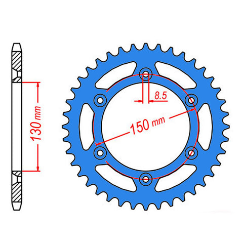SPROCKET REAR MTX ZERO Aluminium 251 47T #520 BLU