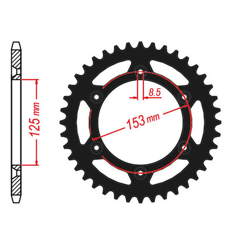 SPROCKET REAR MTX ZERO Aluminium 210 50T #520 BLK