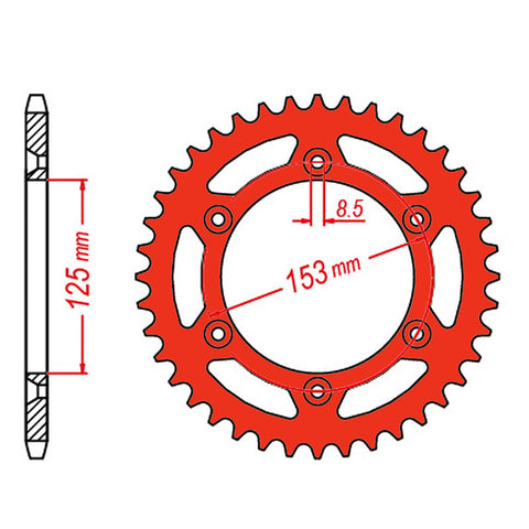 SPROCKET REAR MTX ZERO Aluminium 210 53T #520 RED
