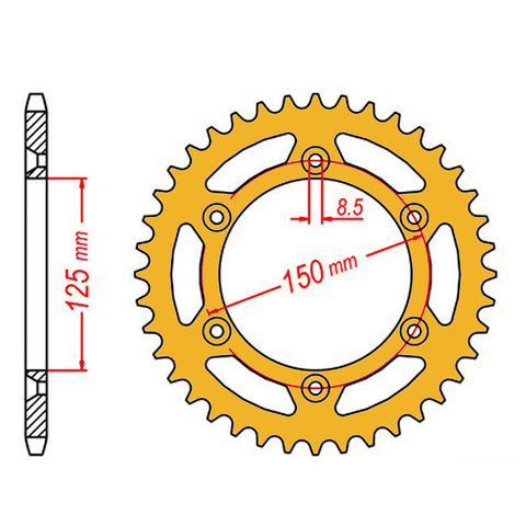 SPROCKET REAR MTX ZERO Aluminium 897 45T #520 GLD