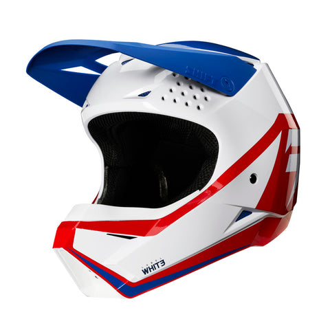 Shift Whit3 Graphic Youth Motorcycle Helmet - White/Blue/Red