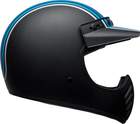 Bell Moto 3 Motorcycle Helmet - Stripes Silver/Black/Blue