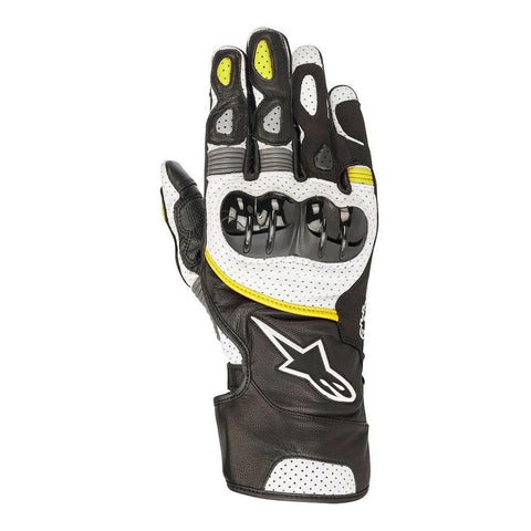 2018 Alpinestars Gloves SP-2 v2 Leather Black/White/Fluro Yellow