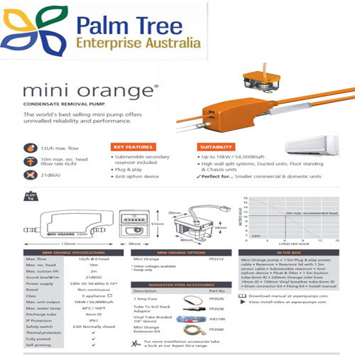 MINI ORANGE CONDENSATE PUMP 8M UP 7KW/HR