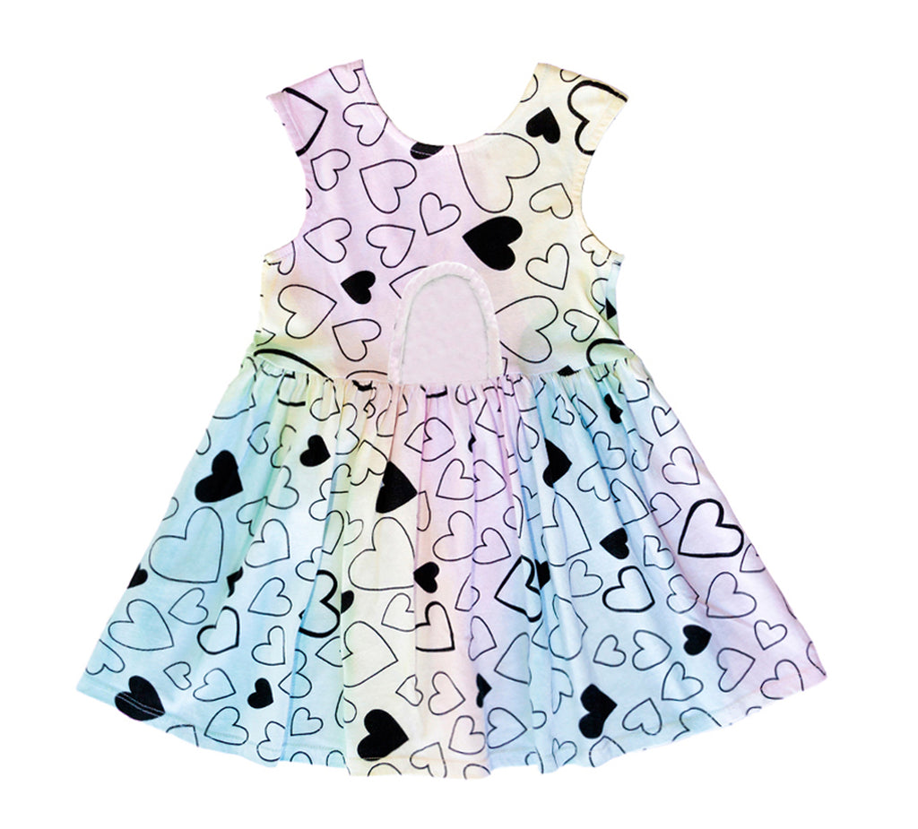 Confetti Love Peek-A-Boo Dress, Unicorn Rainbow