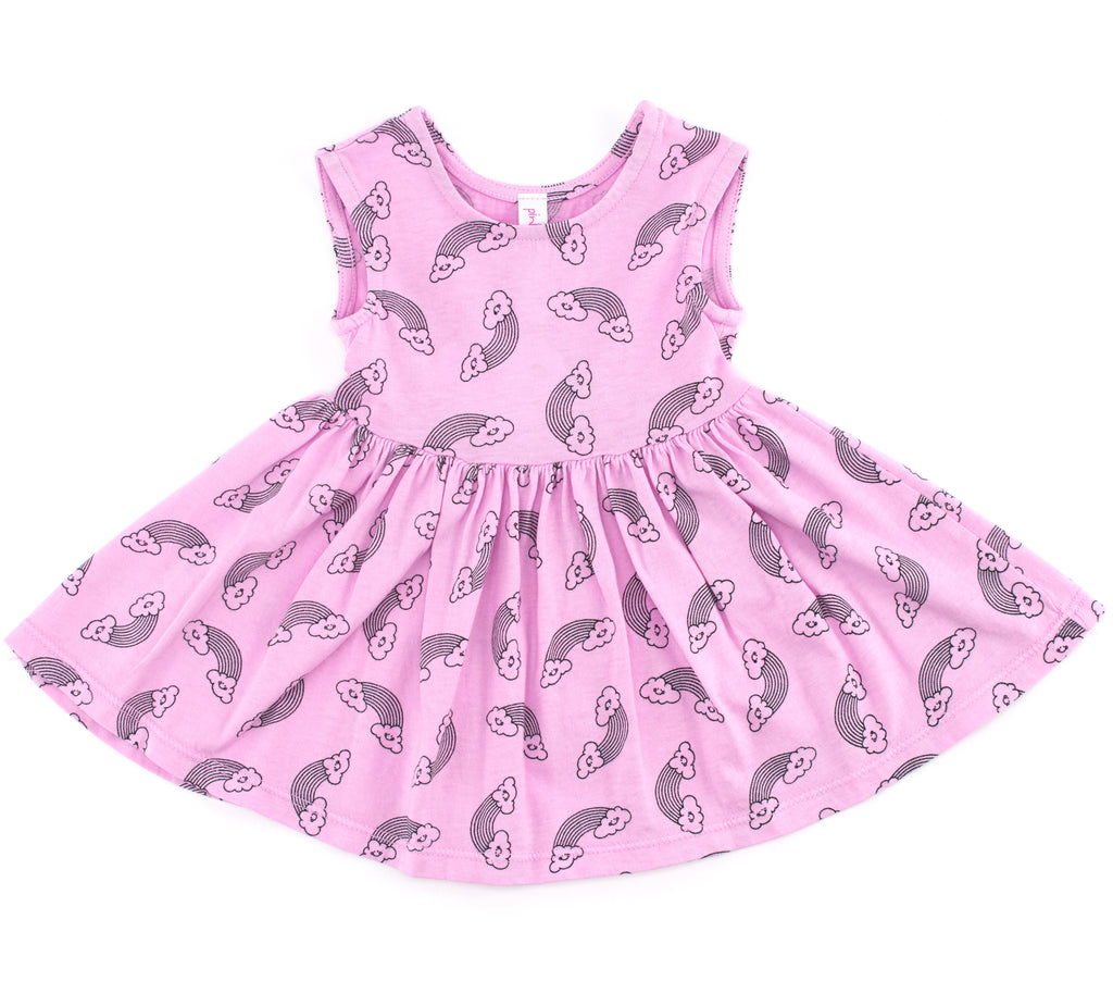 Rainbow Smiles Peek-A-Boo Dress, Peony Pink