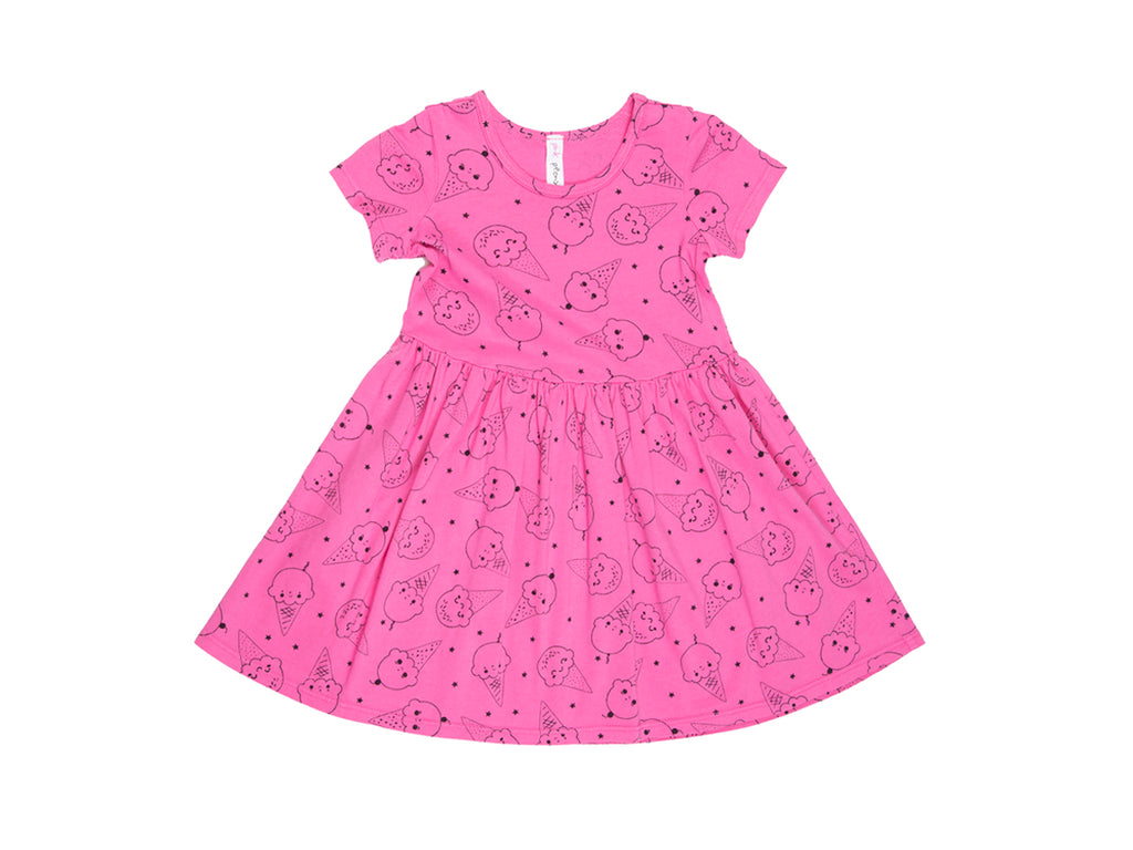 Ice Cream Smiles Short Sleeve Dress in Hot Pink