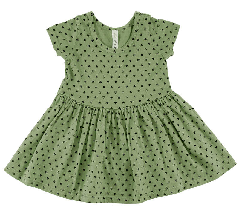 Confetti Hearts Short Sleeve Dress, Olive