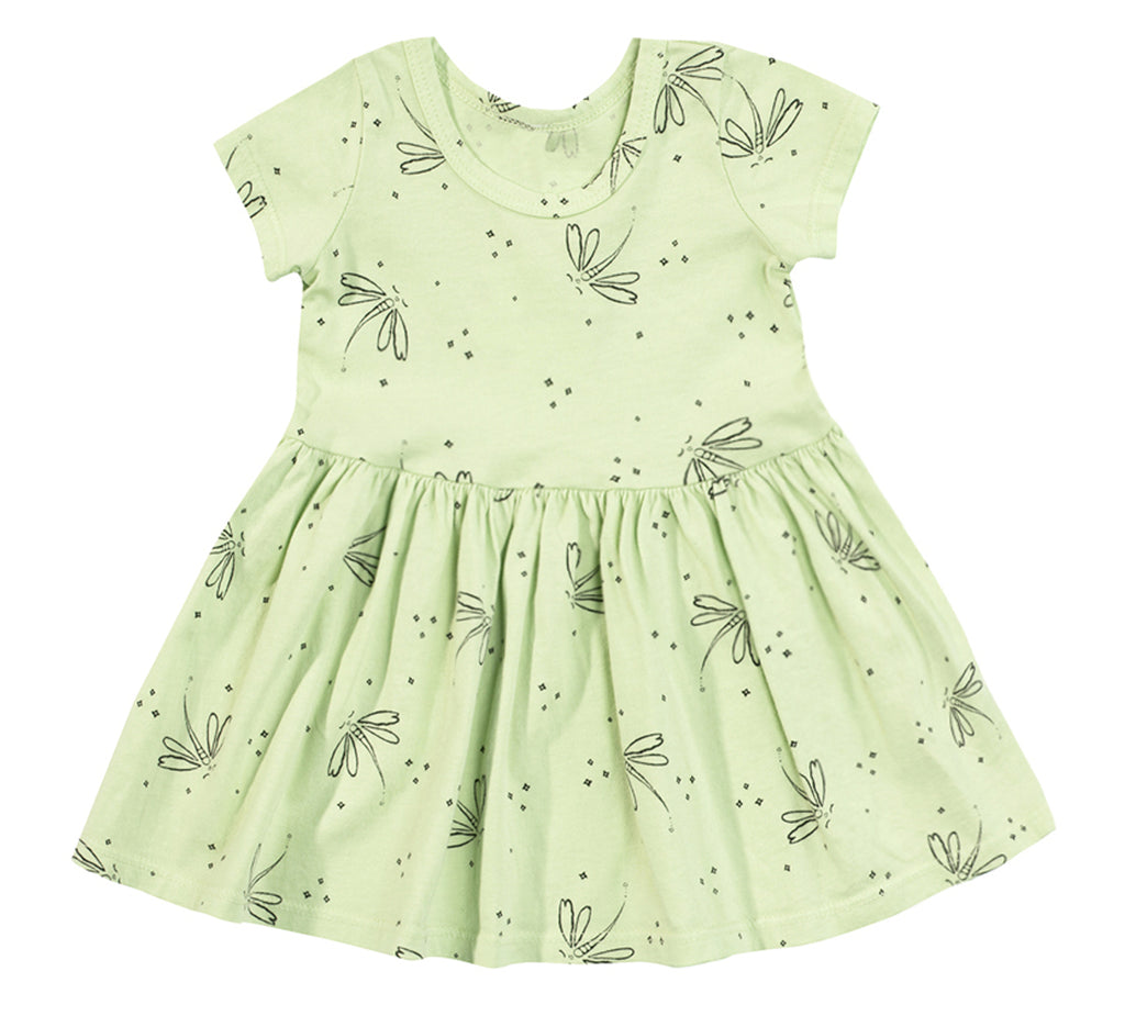 Dragonfly Short Sleeve Dress, Baby Lime