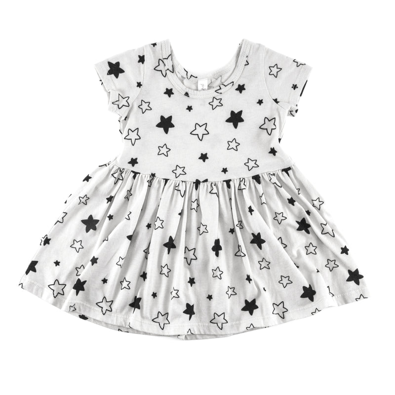 Star Bright Short Sleeve Dress, White