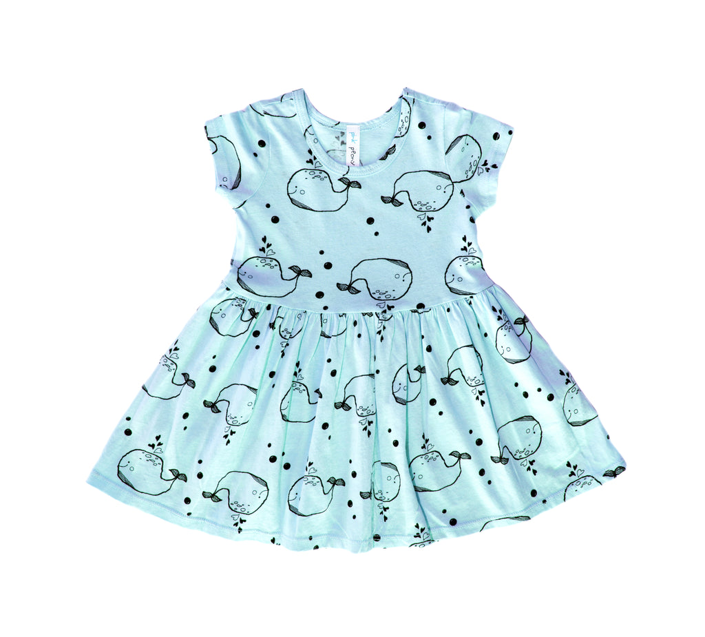 Whale Short Sleeve Dress, Baby Blue