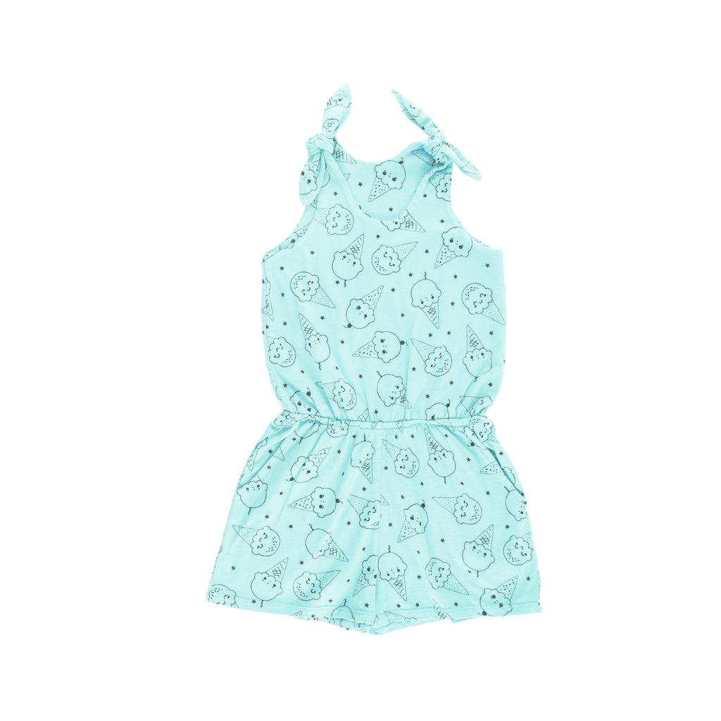 Ice Cream Smiles Romper, Marvelous Mint