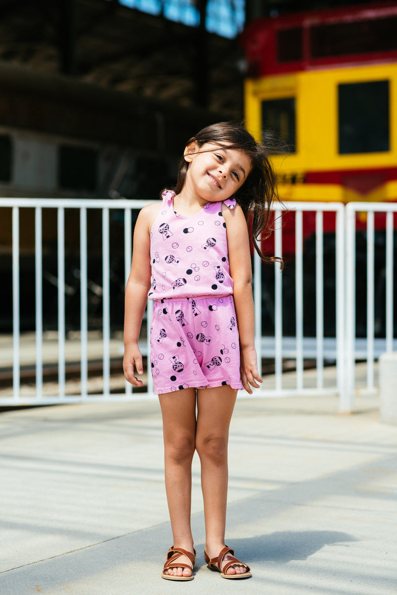 Ice Cream Smiles Romper, Flower