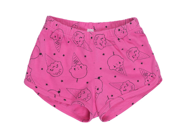 Ice Cream Smiles Track Shorts, Hot Pink