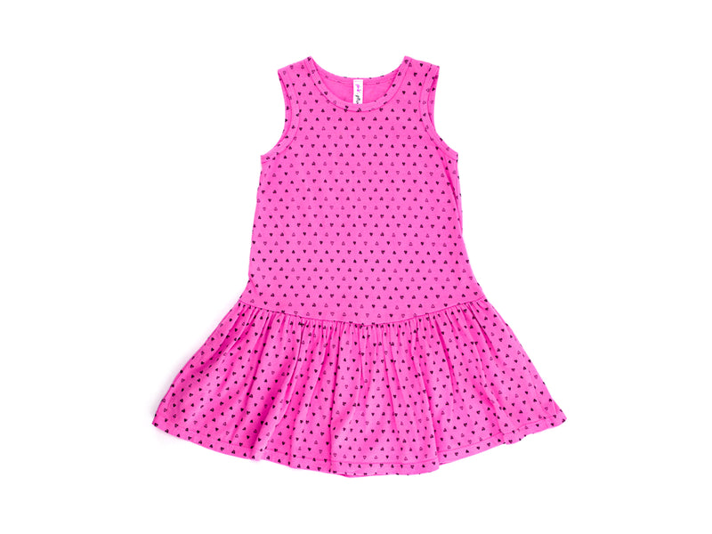 Confetti Hearts Drop Waist Dress in Hot Pink