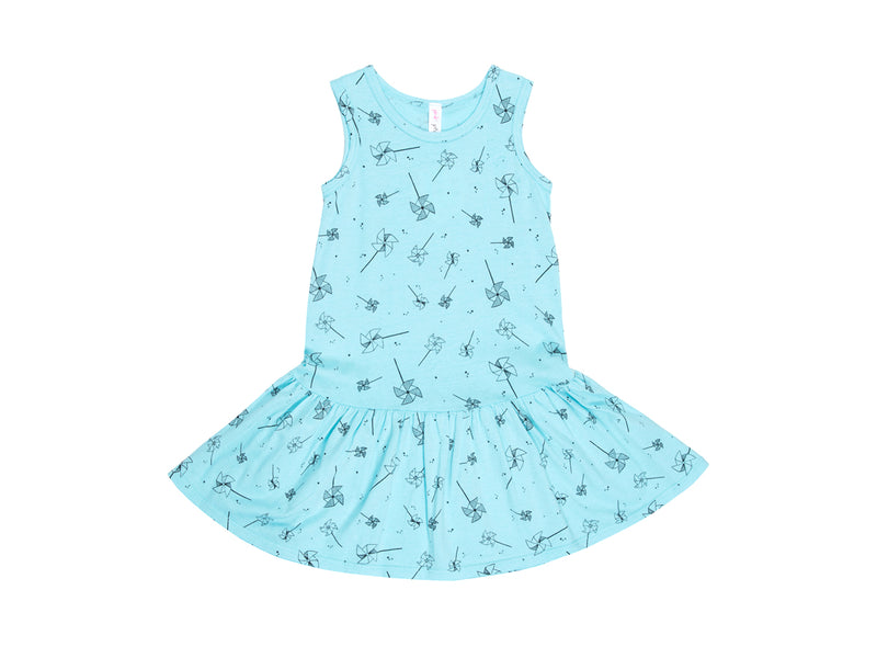 Playful Pinwheels Drop Waist Dress in Aqua