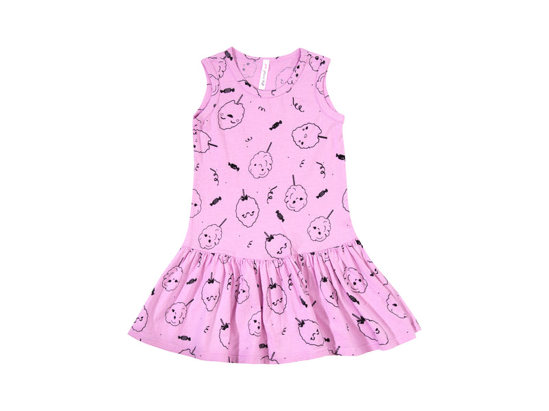 Cotton Candy Drop Waist Dress, Peony Pink
