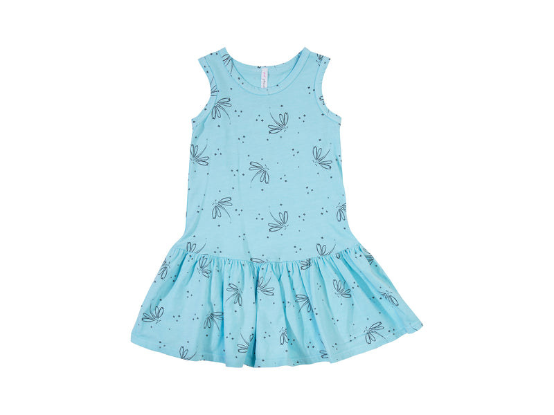 Dragonfly Dreams Drop Waist Dress, Baby Blue