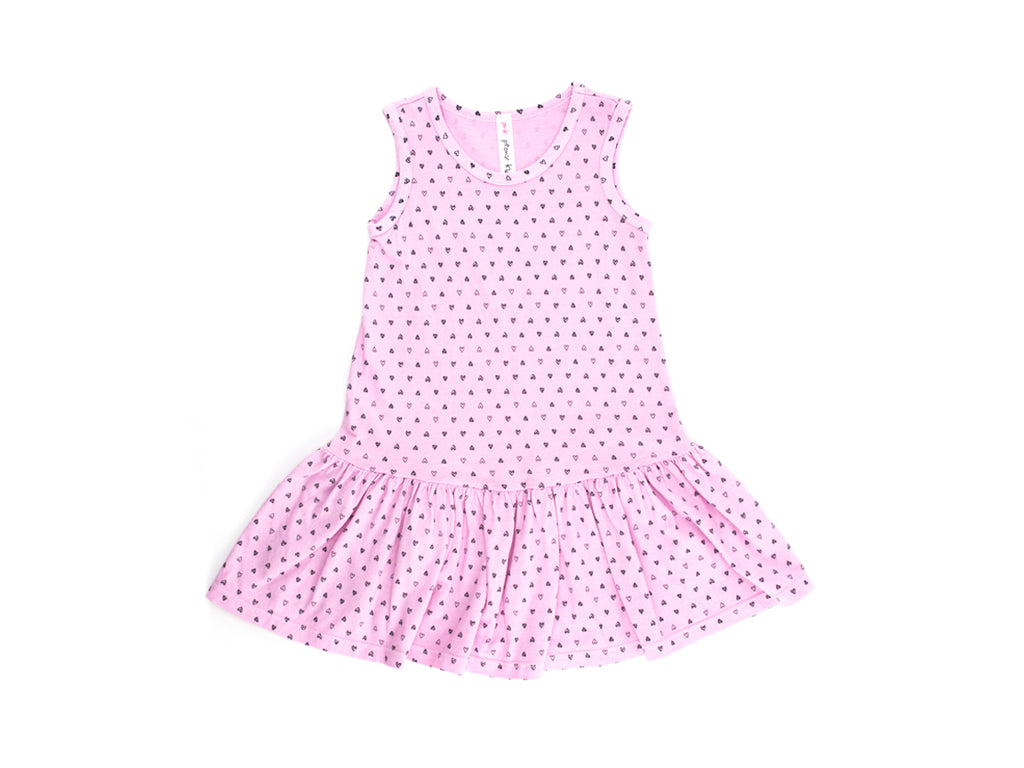 Confetti Hearts Drop Waist Dress, Peony Pink