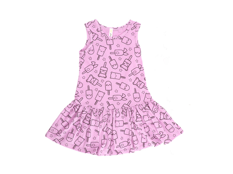 Popsicle Smiles Print Drop Waist Dress, Peony Pink
