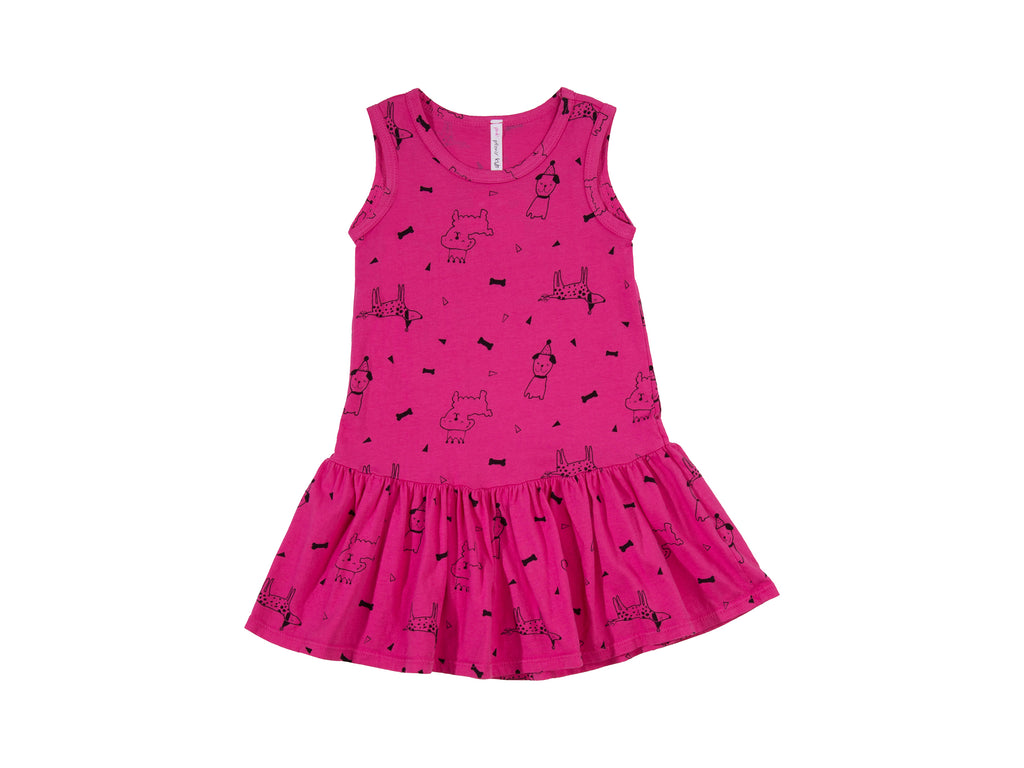 Puppy Party Drop Waist Dress, Hot Pink