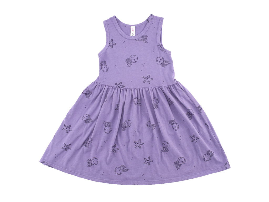 Jelly Star Print Mid Waist Tank Dress in Violet
