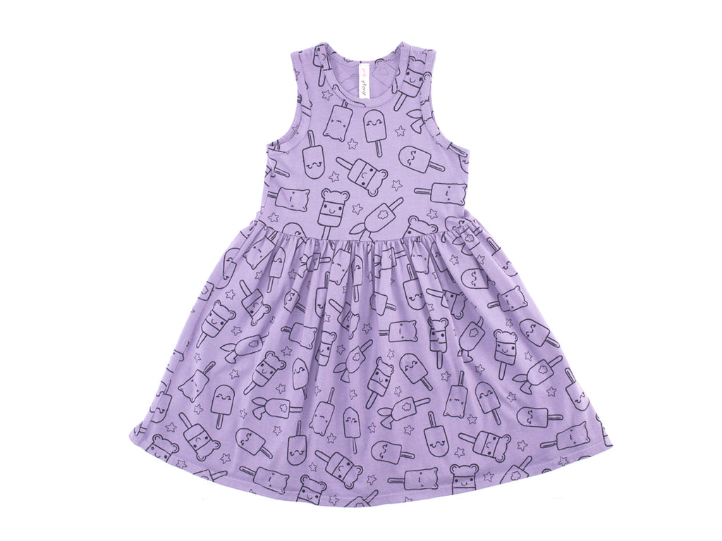 Popsicle Smiles Print Mid Waist Tank Dress in Violet