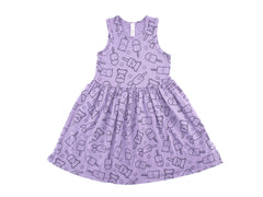 Popsicle Smiles Print Mid Waist Tank Dress, Violet