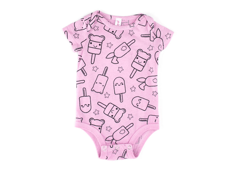 Popsicle Smiles Onesie in Peony Pink