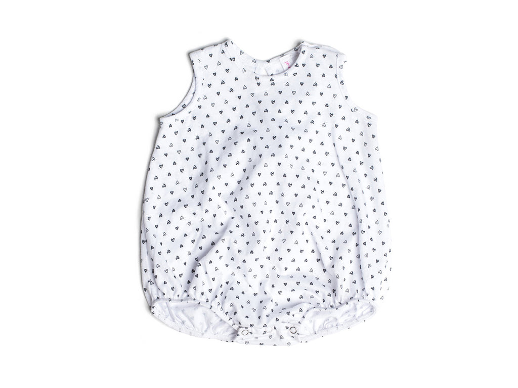 Confetti Hearts Bubble Onesie in White