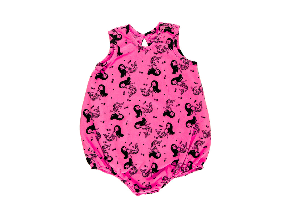 Little Miss Mermaid Bubble Onesie in Hot Pink