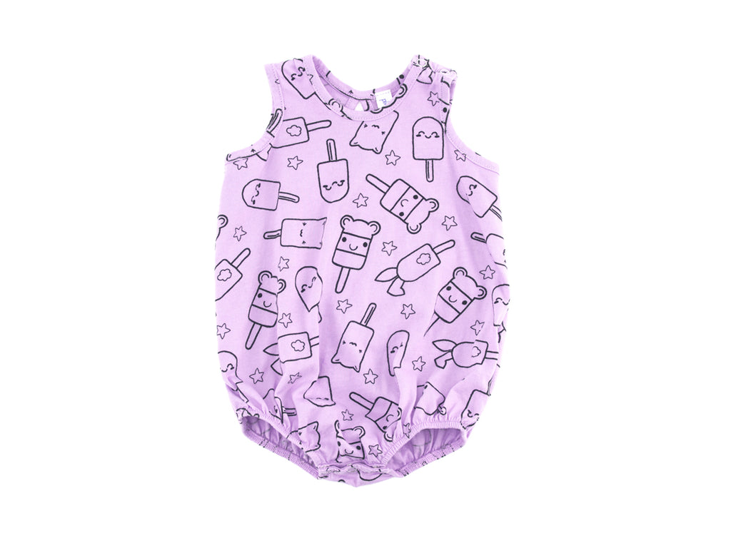 Popsicle Smiles Bubble Onesie, Lovely Lilac