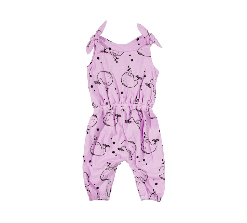 Whale Baby Romper, Peony Pink