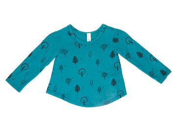 Black Forest Bloom Long Sleeve Tee, Teal