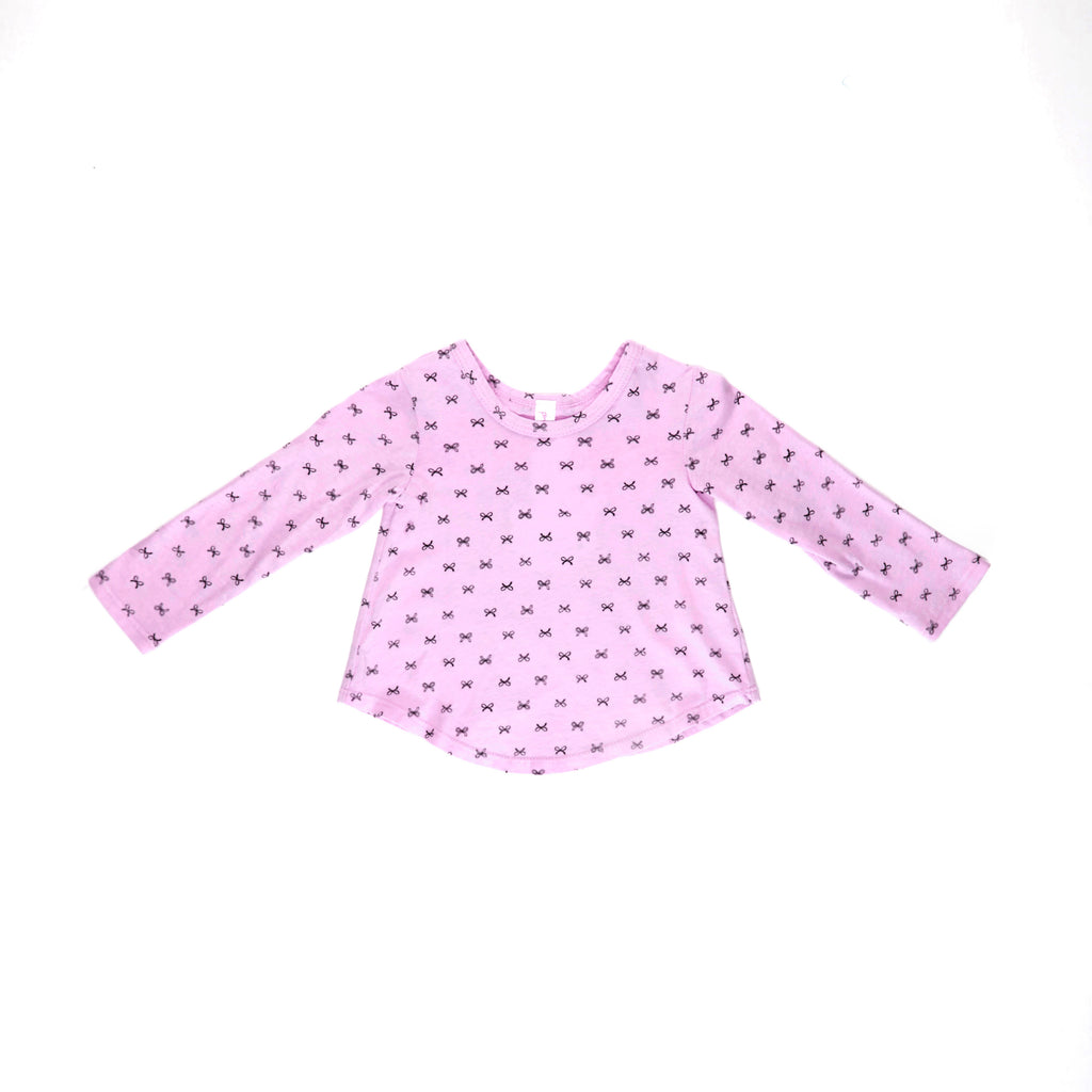 Confetti Bows Long Sleeve Tee, Peony Pink