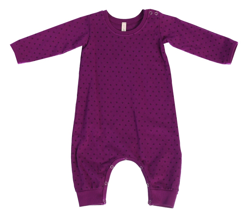 Confetti Hearts French Terry Baby Romper, Mulberry