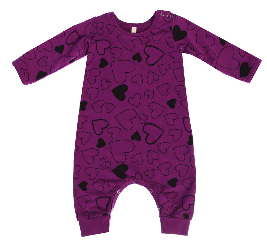 Confetti Love French Terry Baby Romper, Mulberry