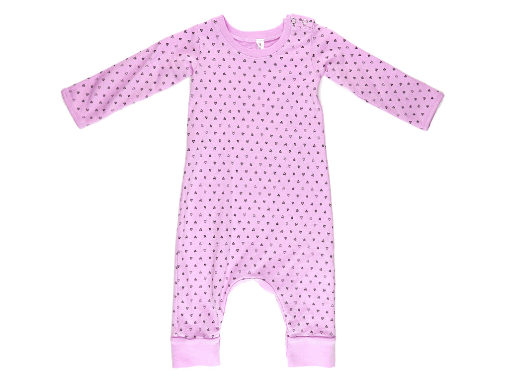 Confetti Hearts French Terry Baby Romper, Peony Pink