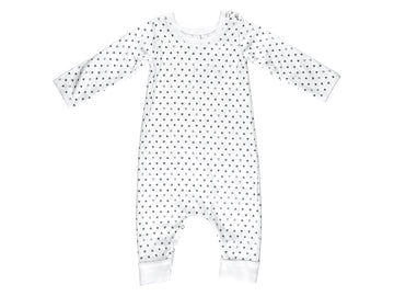 Confetti Hearts French Terry Baby Romper, White