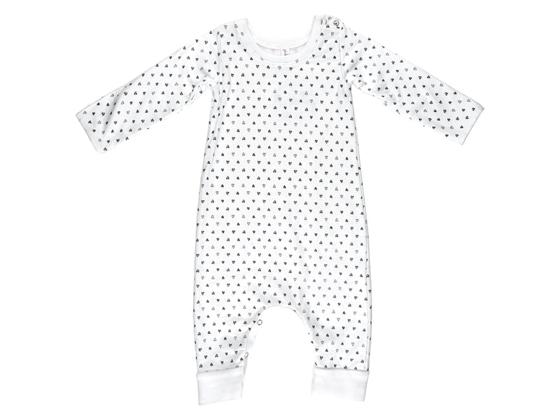 Confetti Hearts French Terry Baby Romper in White