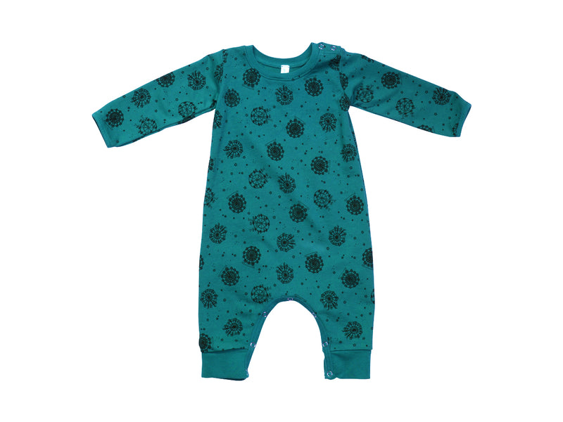 Ferris Wheel French Terry Baby Romper, Azure