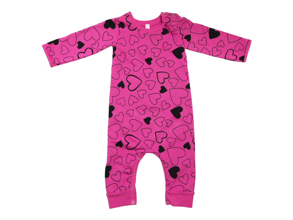 Confetti Love French Terry Baby Romper, Raspberry