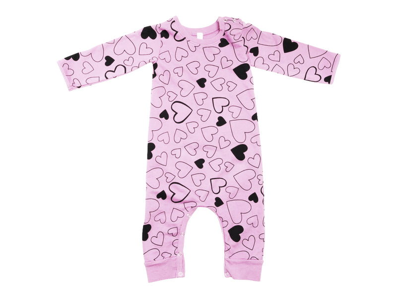 Confetti Love French Terry Baby Romper, Peony Pink