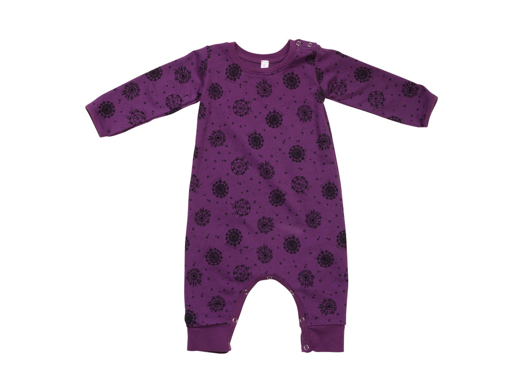 Ferris Wheel French Terry Baby Romper, Plumberry