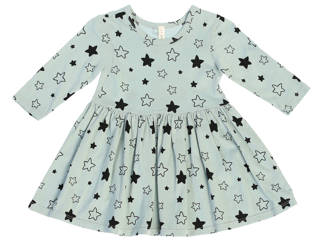 Star Bright Mid Waist Dress, Dusty Blue