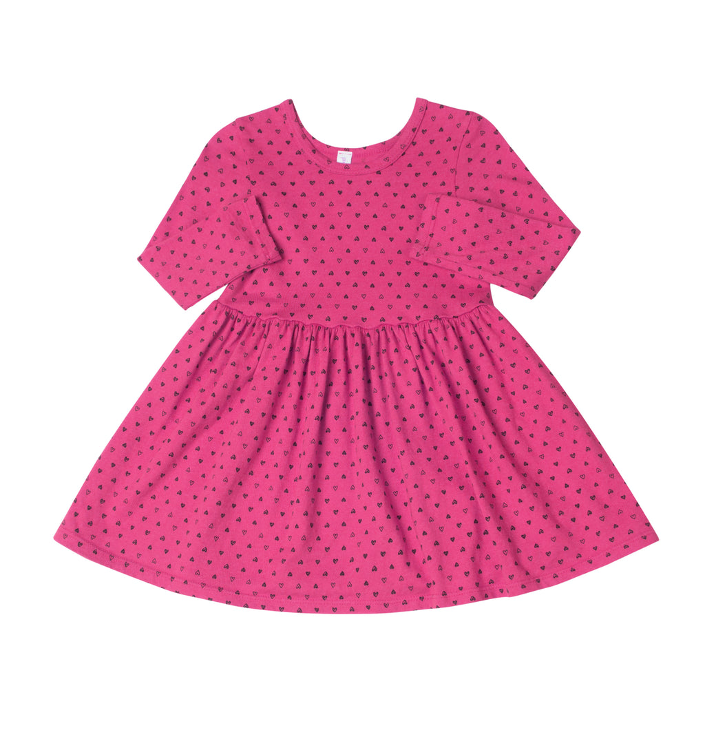 Confetti Hearts Mid Waist Dress, Raspberry