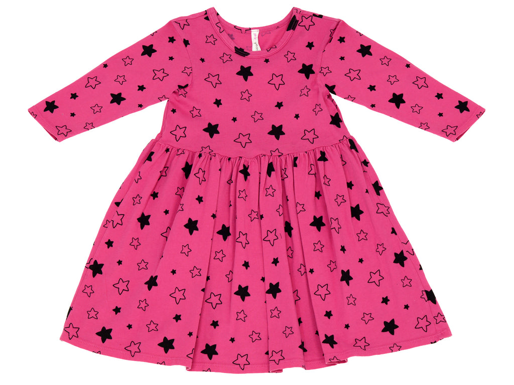Star Bright Mid Waist Dress, Raspberry