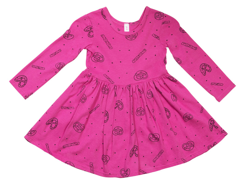 Pretzel Mix Mid Waist Dress, Raspberry